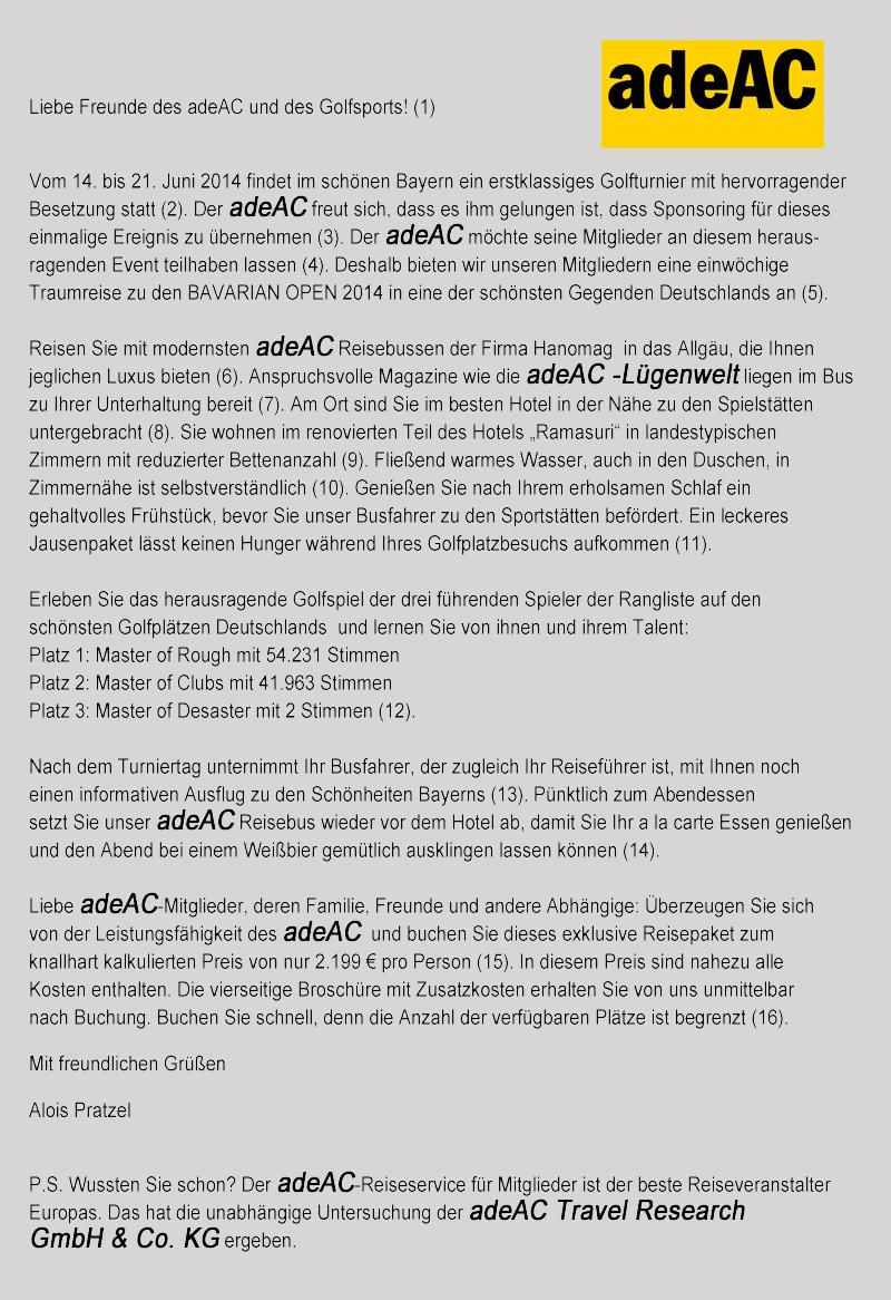 adeAC Mitgliederschreiben